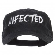 Infected Embroidered Garment Washed Army Cap - Black