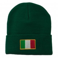 Europe Italy Flag Embroidered Long Cuff Beanie - Green
