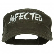Infected Embroidered Garment Washed Army Cap - Dk Olive Green