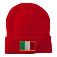 Europe Italy Flag Embroidered Long Cuff Beanie - Red