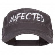 Infected Embroidered Garment Washed Army Cap - Charcoal Grey