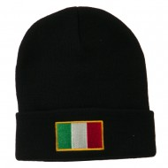 Europe Italy Flag Embroidered Long Cuff Beanie - Black