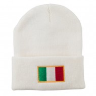 Europe Italy Flag Embroidered Long Cuff Beanie - White