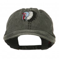 Indian Headdress Embroidered Washed Cap - Black