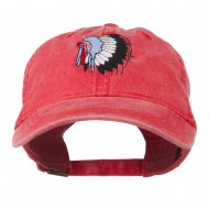 Indian Headdress Embroidered Washed Cap - Red