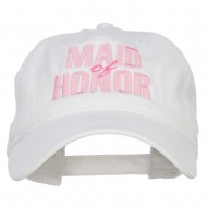 Maid of Honor Embroidered Washed Cap - White