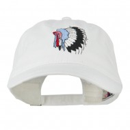 Indian Headdress Embroidered Washed Cap - White