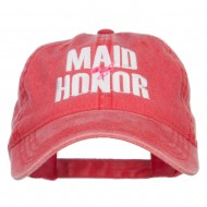 Maid of Honor Embroidered Washed Cap - Red