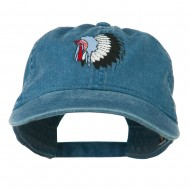 Indian Headdress Embroidered Washed Cap - Navy