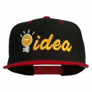 Light Bulb Idea Embroidered Snapback Cap - Black Red