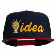 Light Bulb Idea Embroidered Snapback Cap - Navy Red