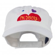 I am Yours Heart Embroidered Cap - White