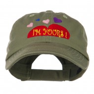 I am Yours Heart Embroidered Cap - Olive
