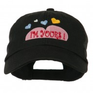 I am Yours Heart Embroidered Cap - Black