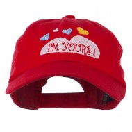 I am Yours Heart Embroidered Cap - Red