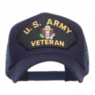 US Army Veteran Military Patched Mesh Cap - Navy