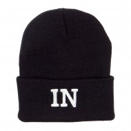 IN Indiana State Embroidered Long Beanie - Black