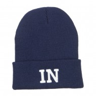 IN Indiana State Embroidered Long Beanie - Navy