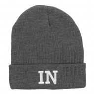 IN Indiana State Embroidered Long Beanie - Dk Grey