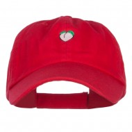 Mini Peach Embroidered Low Cap - Red