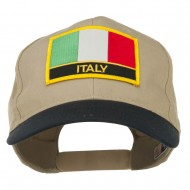 Italy Europe Flag Patched Two Tone High Cap - Navy Khaki