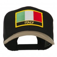 Italy Europe Flag Patched Two Tone High Cap - Khaki Black