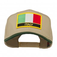 Italy Europe Flag Patched Two Tone High Cap - Green Khaki