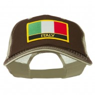 Italy Flag Embroidered Patched Big Size Washed Mesh Cap - Brown Beige
