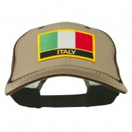 Italy Flag Embroidered Patched Big Size Washed Mesh Cap - Khaki Brown