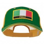 Italy Flag Embroidered Patched Big Size Washed Mesh Cap - Kelly Gold