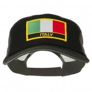 Italy Flag Embroidered Patched Big Size Washed Mesh Cap - Black Grey