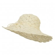 Women's Paper Scalloped Wide Brim Hat - Ivory