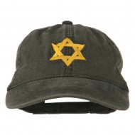 Jewish Star of David Embroidered Washed Cap - Black