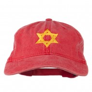 Jewish Star of David Embroidered Washed Cap - Red