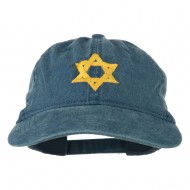 Jewish Star of David Embroidered Washed Cap - Navy