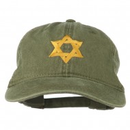 Jewish Star of David Embroidered Washed Cap - Olive