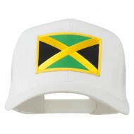 Jamaica Flag Patched Mesh Cap - White