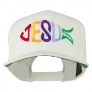 Jesus Fish Embroidered Flat Bill Cap - Natural
