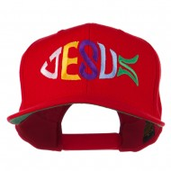 Jesus Fish Embroidered Flat Bill Cap - Red
