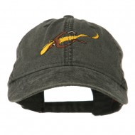 Fishing Floating Jig Embroidered Washed Cap - Black