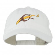 Fishing Floating Jig Embroidered Washed Cap - White