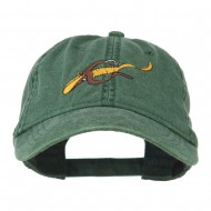 Fishing Floating Jig Embroidered Washed Cap - Dark Green