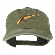Fishing Floating Jig Embroidered Washed Cap - Olive Green
