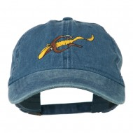 Fishing Floating Jig Embroidered Washed Cap - Navy