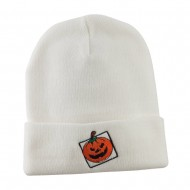 Halloween Jack o Lantern with a Square Box Embroidered Long Beanie - White