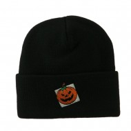 Halloween Jack o Lantern with a Square Box Embroidered Long Beanie - Black