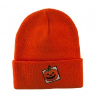 Halloween Jack o Lantern with a Square Box Embroidered Long Beanie - Orange