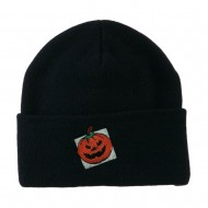 Halloween Jack o Lantern with a Square Box Embroidered Long Beanie - Navy