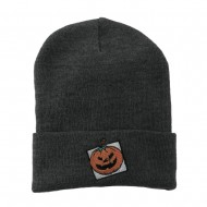 Halloween Jack o Lantern with a Square Box Embroidered Long Beanie - Grey