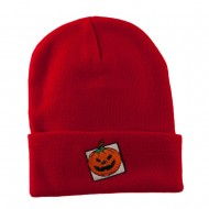 Halloween Jack o Lantern with a Square Box Embroidered Long Beanie - Red